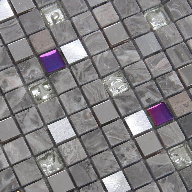 Grau Farbe Stein Gemischten Glasmosaik Fliesen Für Küche Backsplash Fliesen  Badezimmer Dusche Mosaikfliesen U Bahn
