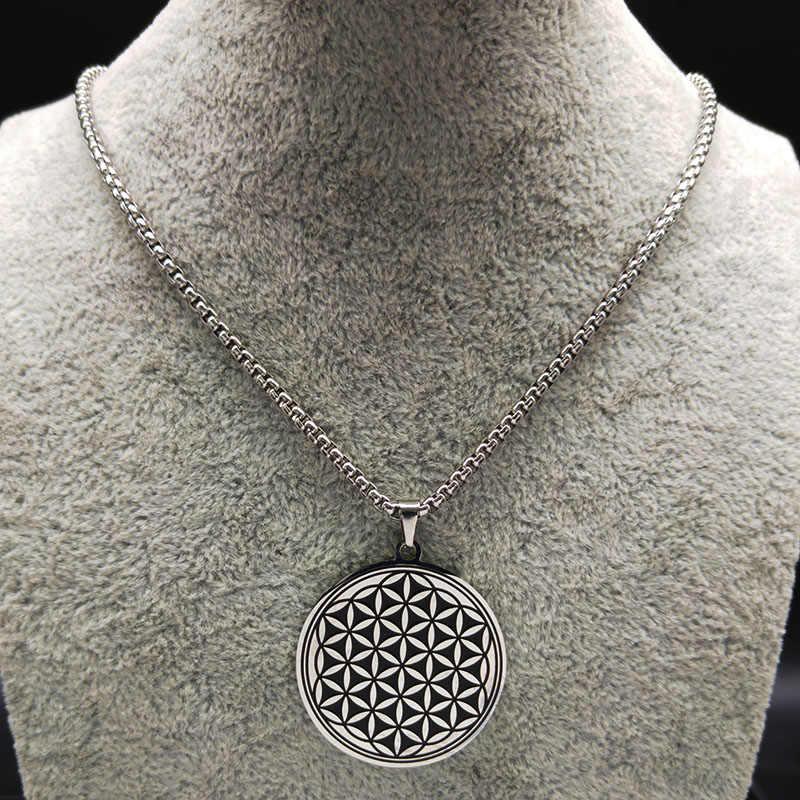 2019 модное круглое женское ожерелье из нержавеющей стали, черный цветок жизни, колье, ювелирное изделие, acero inoxidable joyeria B18200
