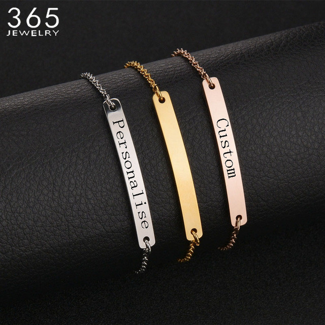 New Accessories Stainless Steel Bar Personalize Bracelet Bangles Custom Engrave Special Gift For Lover S