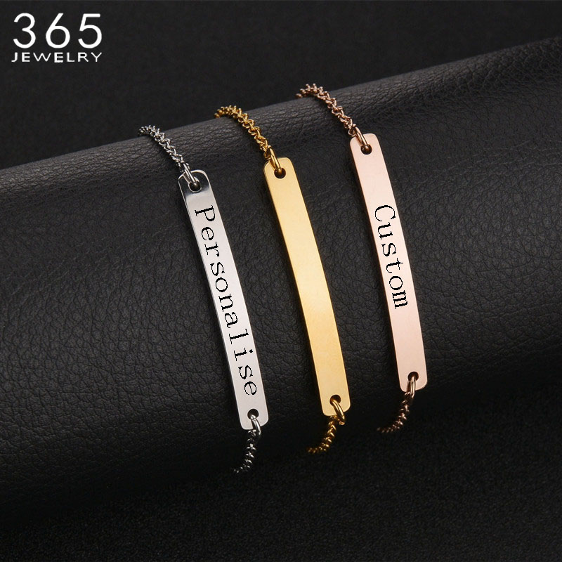 New Accessories Stainless Steel Bar Personalize Bracelet & Bangles Custom Engrave Special Gift For Lover Couples