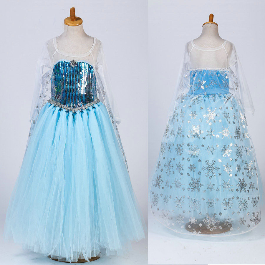 fashion high quality halloween princess costume elsa tutu party dress for girls