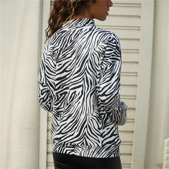 New Zebra Print Womens Tops And Blouses Spring Casual Knitted Shirt Stand Collar Long Sleeve Ladies Blouse Top Blusa Mujer Blouses