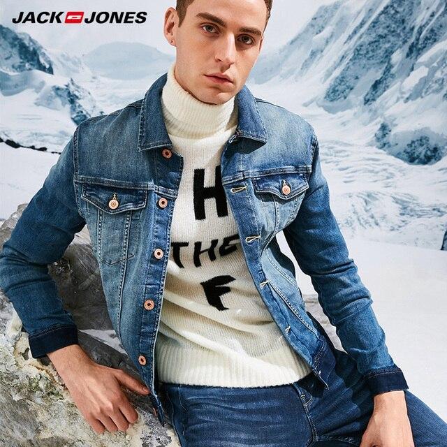 0808b996a Jack Jones Brand 2018 NEW cotton93% streetwear vintage lapel single  breasted coat slim denim jacket men coats