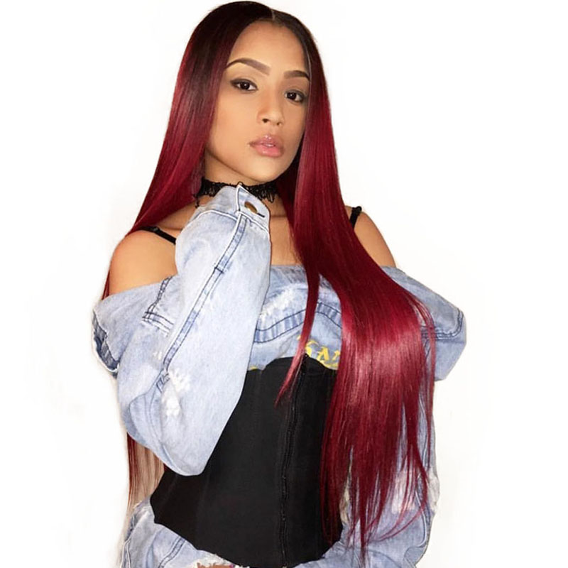 Burgundy Lace Front Wig 1b/99j Ombre Human Hair Wigs 360 Lace Frontal Wig Pre Plucked Brazilian Straight Wig 150% Density  Remy