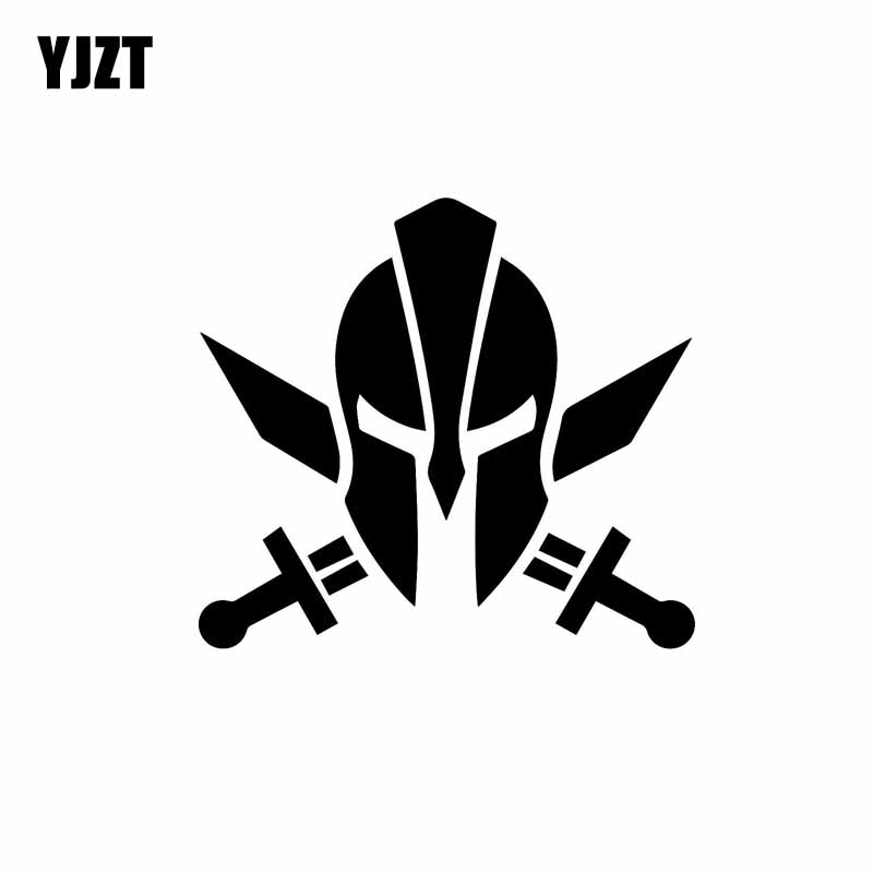 YJZT 12.7CM*11.4CM Spartan Warrior Molon Labe Funny Decal Vinyl Car Sticker Black/Silver C10-01057