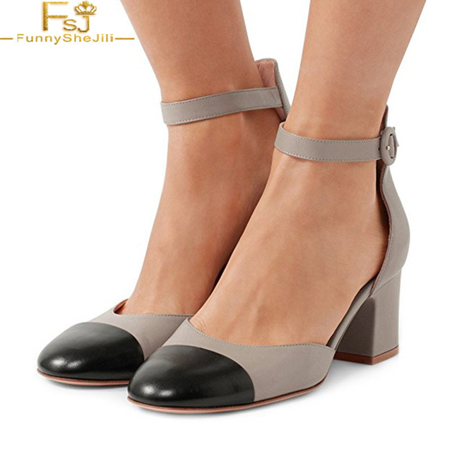 7df5e30d4ae US $48.74 25% OFF|Grey Ankle Strap Block High Heels Pumps Round Toe Vintage  D'Orsay Shoes Sandals Large Size Fashion Evening&Career FSJ -in Women's ...