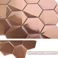 Homey Mosaic Wholesale Rose Gold 3D Hexagon Stainless Steel Mosaic High Quality Art Wall Stickers For Home Decor Modern Sticker