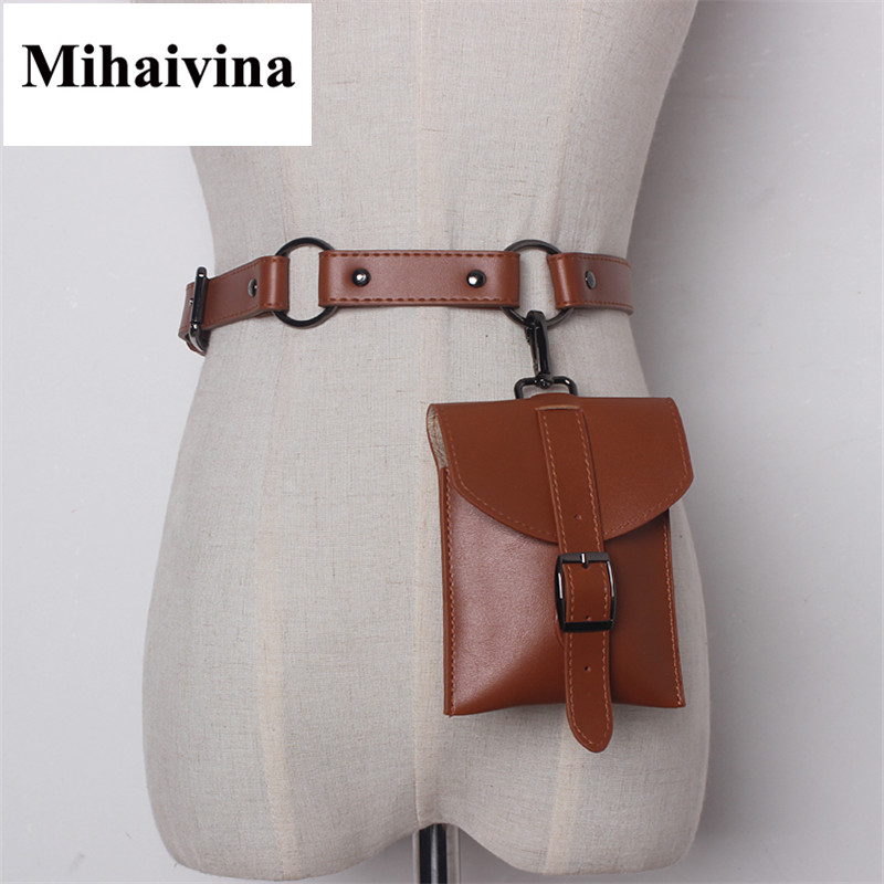 Mihaivina Fashion Women Bag High Quality Leather Waist Bags Pouch Fanny Pack Wallet Holder Women Vintage Belt Bag
