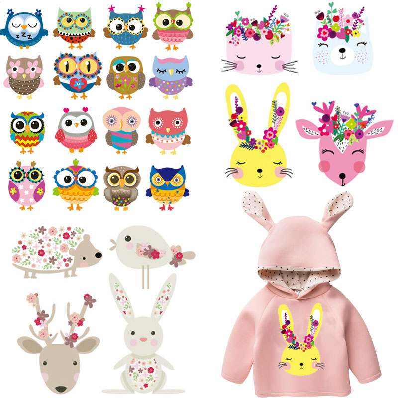 flower cat rabbit iron patches for kids baby infant clothing stickers heat transfert girls dress hoodies thermocollant vetement