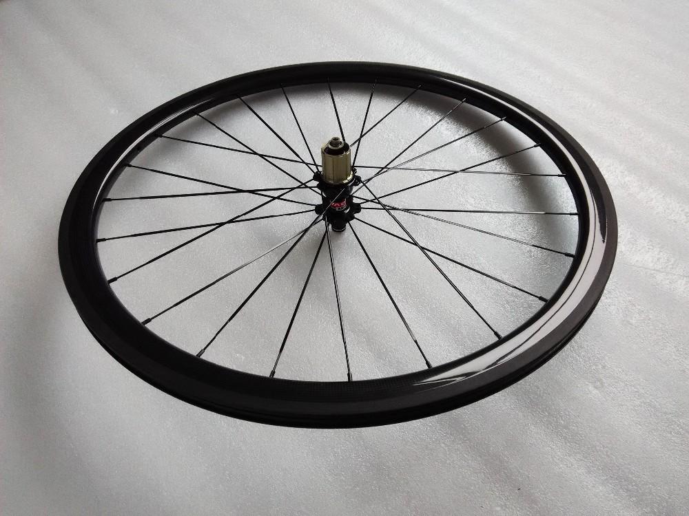 carbon wheels clincher 38mm 700C road bike clincher 38mm 3k glossy  black wheelset (2)