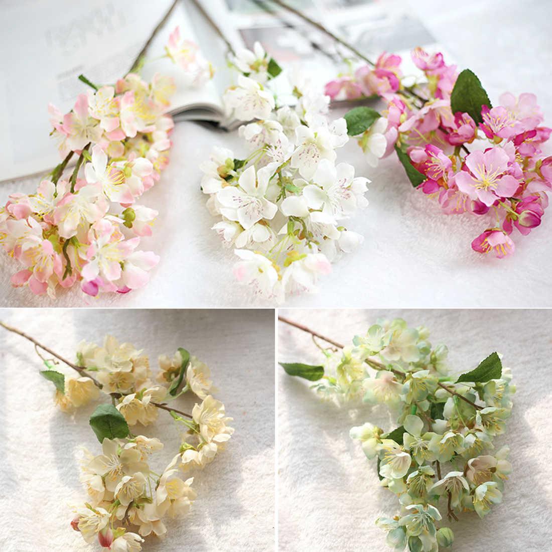 Jepang Sakura Bunga Buatan Cherry Blossom Kualitas Tinggi Bouquet Palsu Bunga Pohon Harapan Pernikahan Rumah Pesta Dekorasi