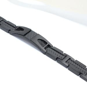 Image 5 - Escalus Magnetic Pure Titanium Black Bracelet For Men Carbon Fiber Stylist Germanium Charm New Bracelets Wristband