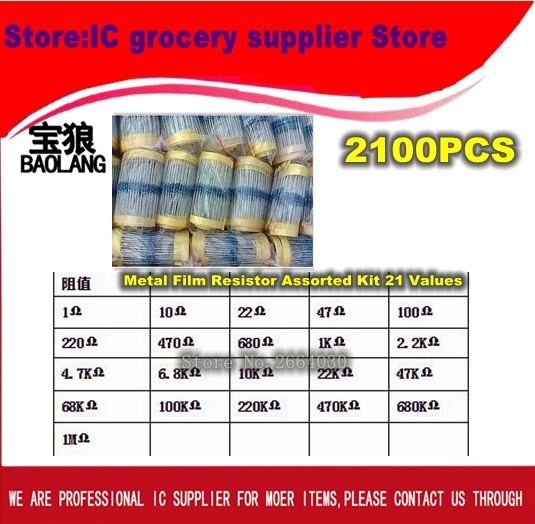 Free Shipping Total de 2100 pcs 1/4 W Metal Film Resistor Assorted Kit 21 Valores (1 Ohm ~ 1 M Ohm), 100 pcs Cada valor 200pcs 10r 10 ohm 1w axial metal film resistor 1 watt