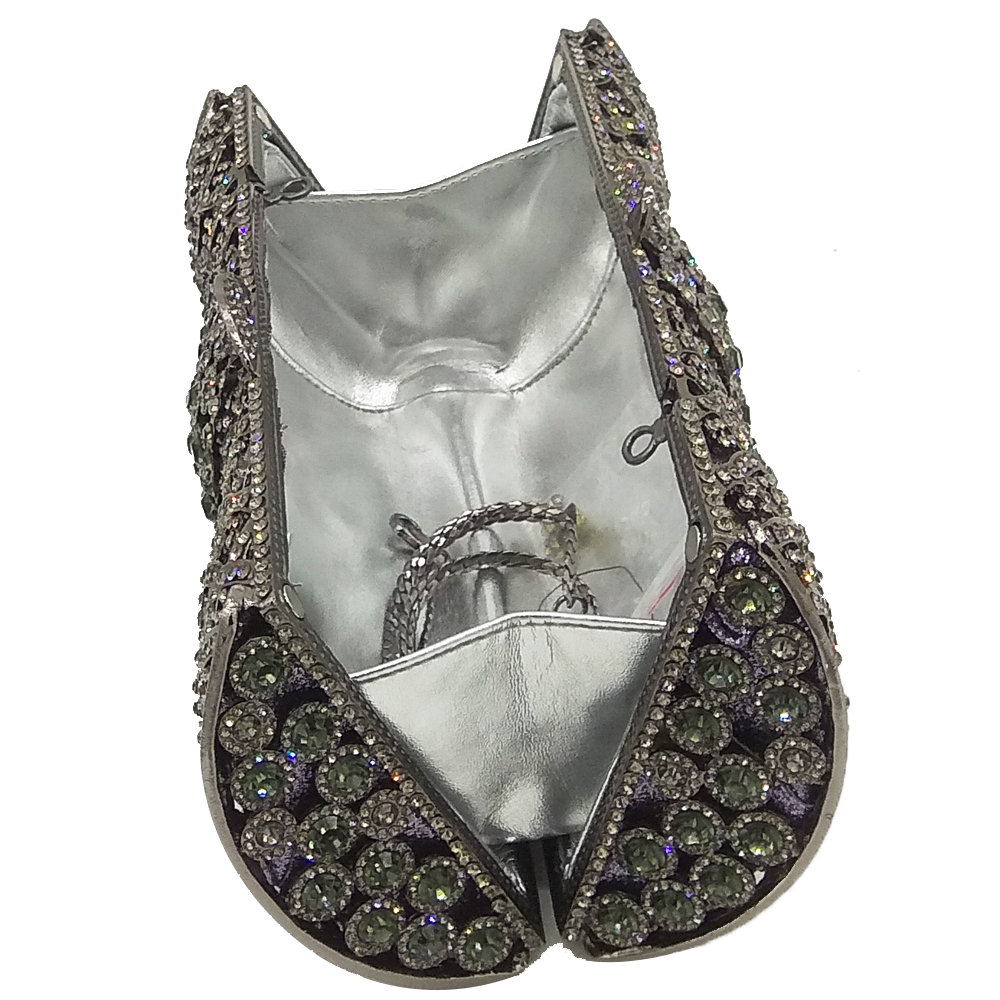 b1b63ea48 Deslumbrante Socialite de lujo gris mujeres embrague bolsos de noche de  cristal Diamante de novia embragues Metal Hardcase bolso