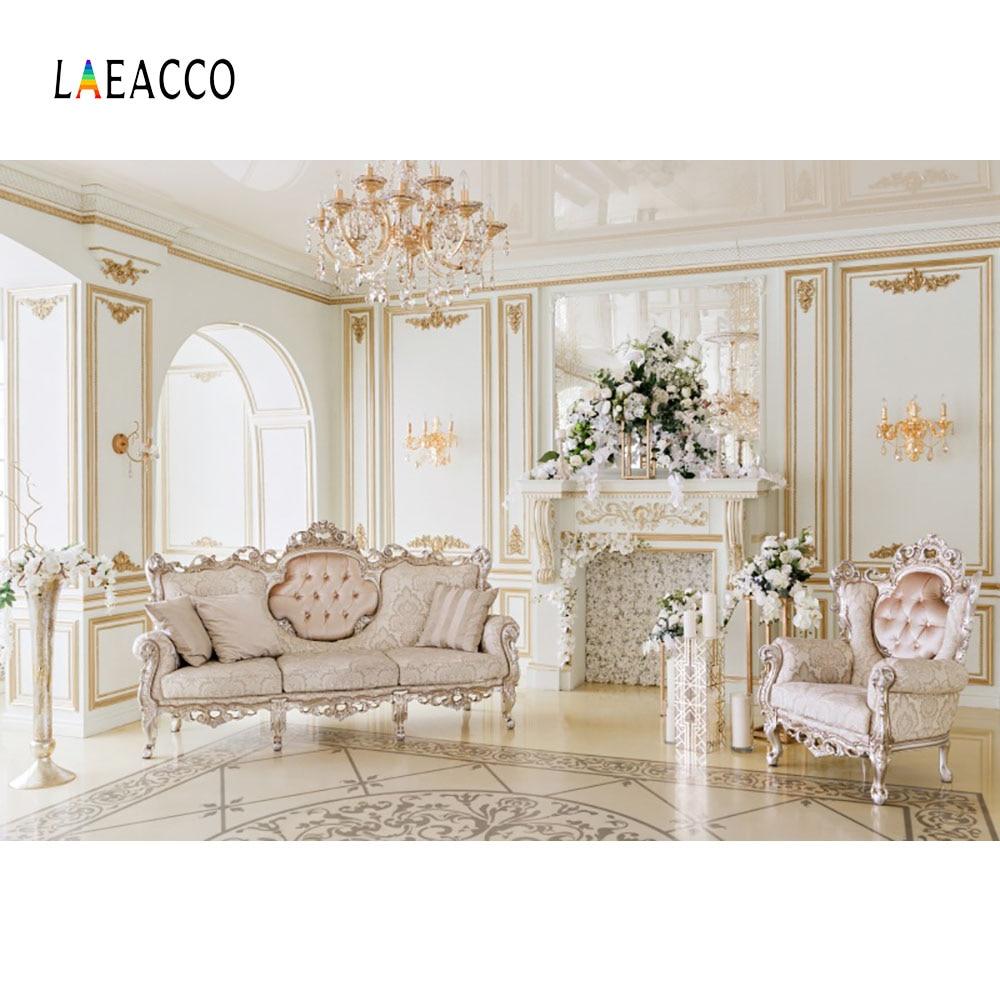Laeacco lujo aristocrática casa araña chimenea sofás fotografía - Cámara y foto