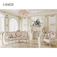 Laeacco Luxury Aristocratic House Chandelier Fireplace Sofas Photography Backdrops Vinyl Customs Backgrounds For Photo Studio