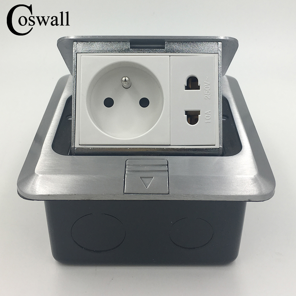 Coswall All Aluminum Silver Panel 16A French Standard Socket + Universal 2 Hole Pop Up Floor Socket Power Outlet manufacturer all aluminum panel eu standard pop up floor socket single power outlet dual usb port page 2
