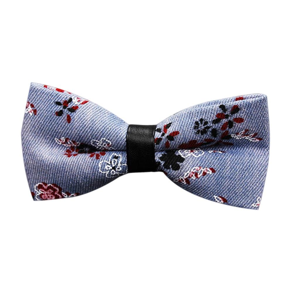 Bow Tie Necktie Denim Gift Vintage For Wedding Business Party Groom Suit Men Best Man -MX8