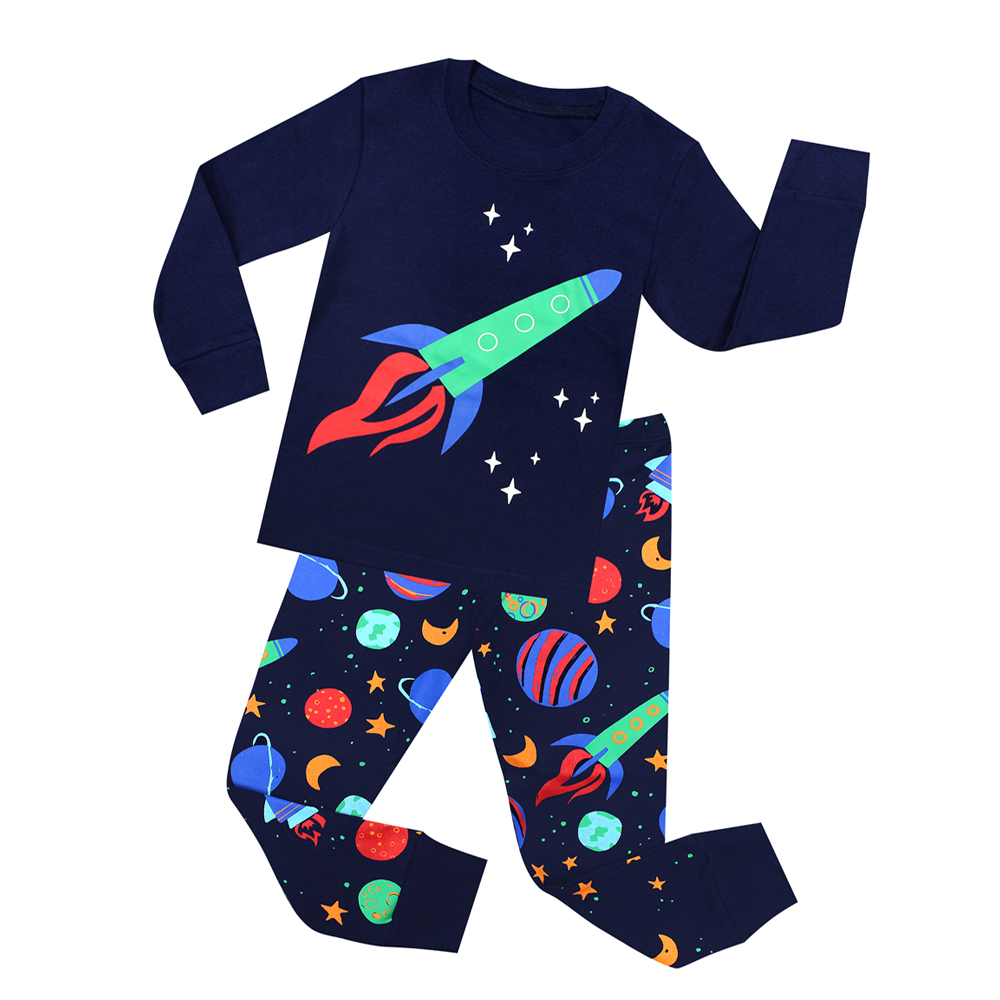2018 New Kids Pajamas Children Sleepwear Rocket Pijamas For 1-8 Years Girls Boys Stripe Nightwear Cars Airplane Pjs Baby Pyjamas