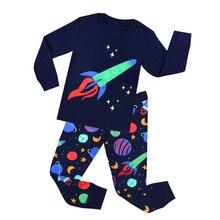 Новинка года, детские пижамы с ракетами для девочек и мальчиков возрастом от 1 года до 8 лет, полосатая одежда для сна с машинками, самолетиками, пижамы для малышей