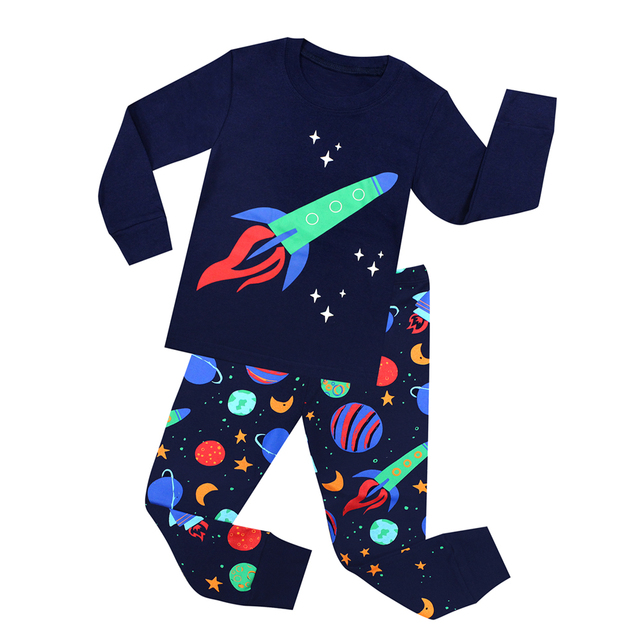TINOLULING/2018 г. новые детские пижамы, Детская одежда для сна, пижамы с ракетами для девочек и мальчиков от 1 до 8 лет, полосатая одежда для сна с машинками и самолетами, пижамы