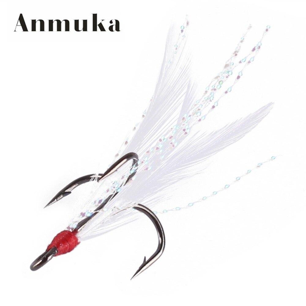Anmuka 10pcs lot diy fishing hooks treble hooks with for Barbed fishing hook