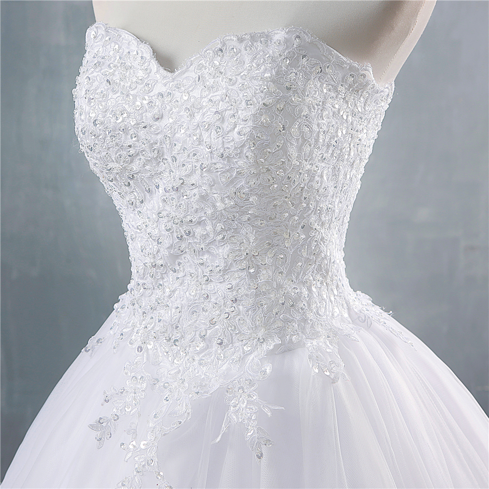 ZJ9147 2019 White Ivory Sweetheart Sequins And Beads Wedding Dresses For Brides Plus Size Princess Bridal Size 2-26W