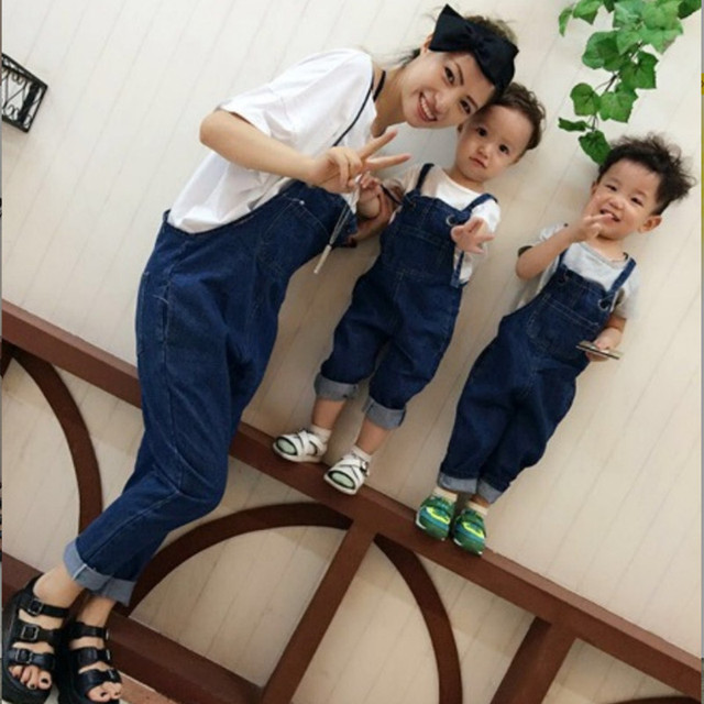 2e3bfca2f6127 Pregnancy Maternity Clothes Jeans Family Matching Clothes Outfits Overalls  Mom Son Outfits Mother and Daughter Pants Baby Set