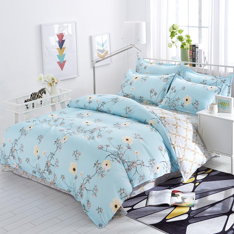 Blue Flower Ab Double Sided Modern Style Bedding Sets Bed