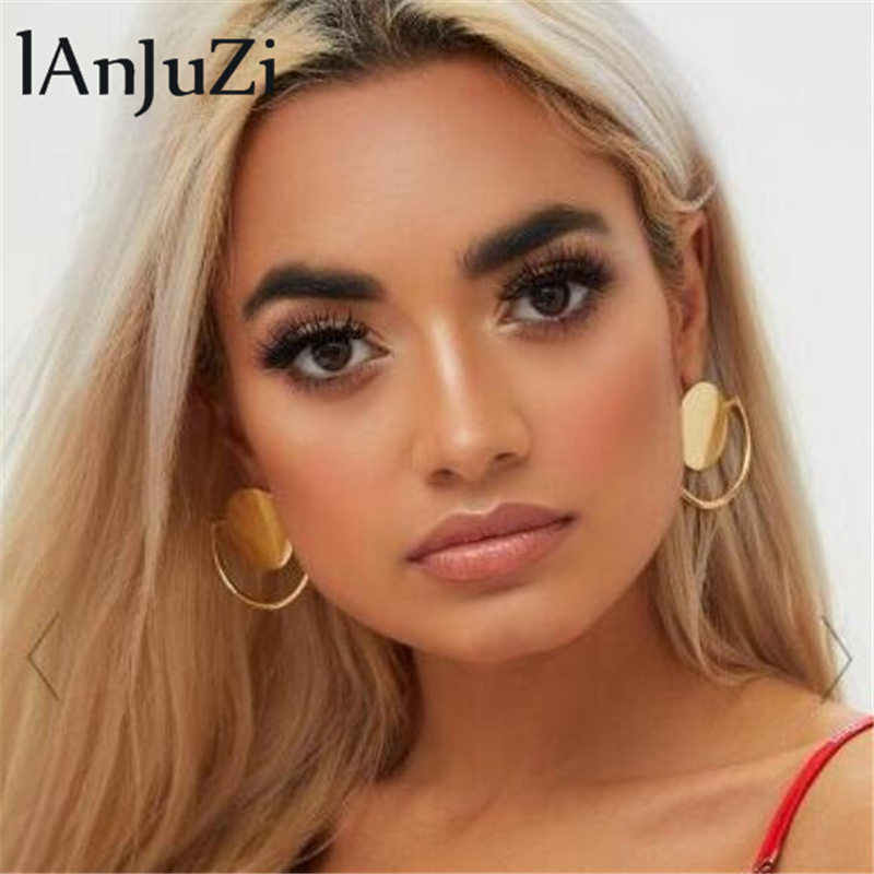 Gold Big Earring Geometric Round Drop Earrings for Women Girls Punk Gold Alloy Earrings Brincos Jewelry Statement