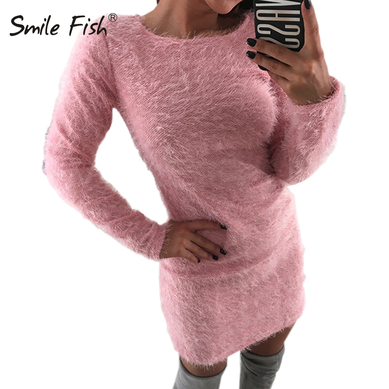 Knitted Sweater Women Knitted Dress Femme Winter Plus Size 2018 Autumn Long Sleeve Knit Bodycon Dresses Robe Warm Fuzzy GV033