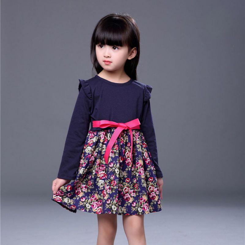 Princess Girl Flower Pattern Print Dress Full Sleeve with Sashes Cute Baby Girls Dress