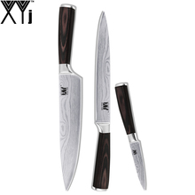 XYJ Brand Kitchen Knife Set Beauty Family Gift Wave Veins 7CR17 Stainless Steel Knives Chinese Top-Rank Handmade Cooking Tools