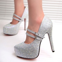 Wedding shoes female high heel platform red crystal shoes with diamonds white bride wedding bridesmaid dress shoes.