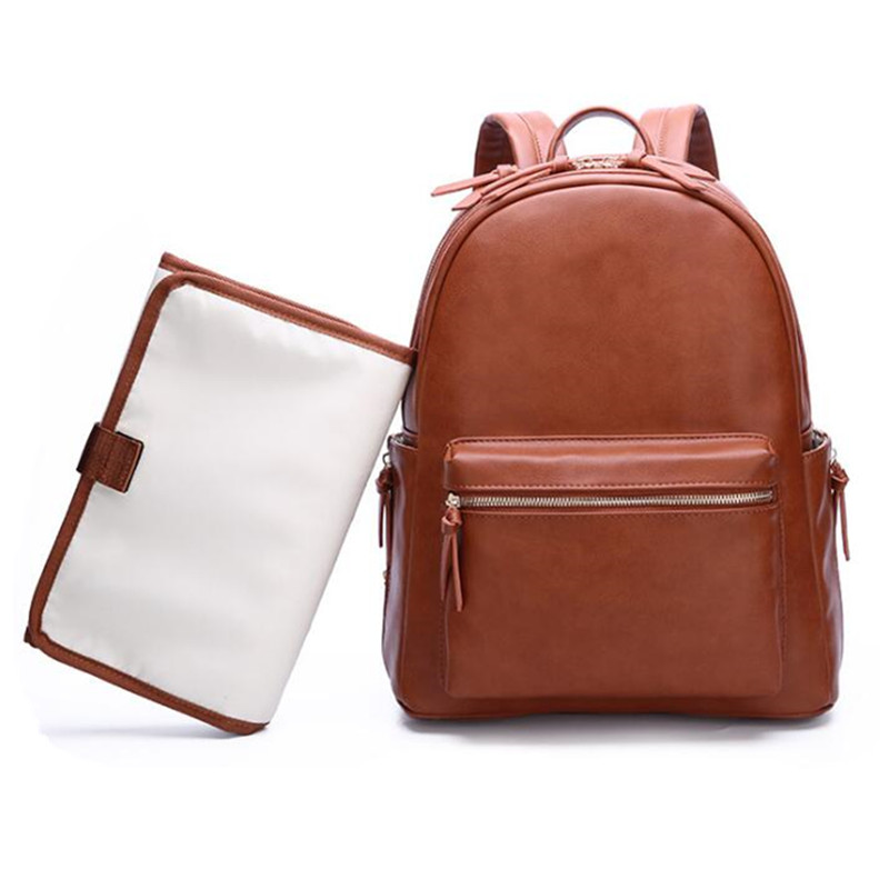 Large PU Leather Diaper Bag Backpack For Mom Stroller Organizer Bags Maternity Travel Baby Nappy Bags Change Pad Hooks