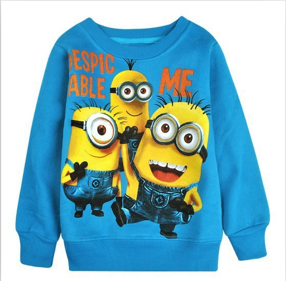 2017-New-1pcs-baby-boys-girl-Cartoon-design-round-minion-collar-fleece-children-wear-t-shirts-Childrens-clothes-ATX014-3