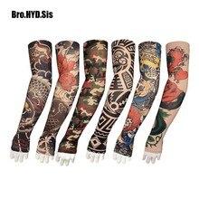 2 шт./лот крутые Летние Поддельные тату перчатки рукав для рук для мужчин и женщин УФ Защита от солнца крутые велосипедные рукава платья чулки для девочек