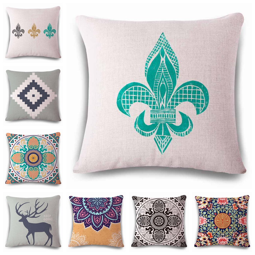 Watercolor national style <font><b>Cushion</b></font> printed linen Family affection Sofa Car Seat family Home Decorative Throw Pillow