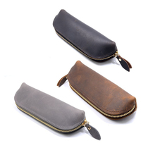 Nature Leather Zipper Pen Case Fashion Cow Pencil Bag School Stationary Items Tools Office Organizer