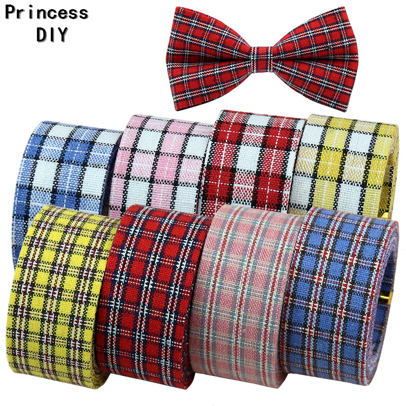 5M/Lot 10 25 50mm School Girl Check Scottish Ribbon Plaid Folded Fabric Tape DIY Hair BowTie Brooch Collar Hand Craft Materia