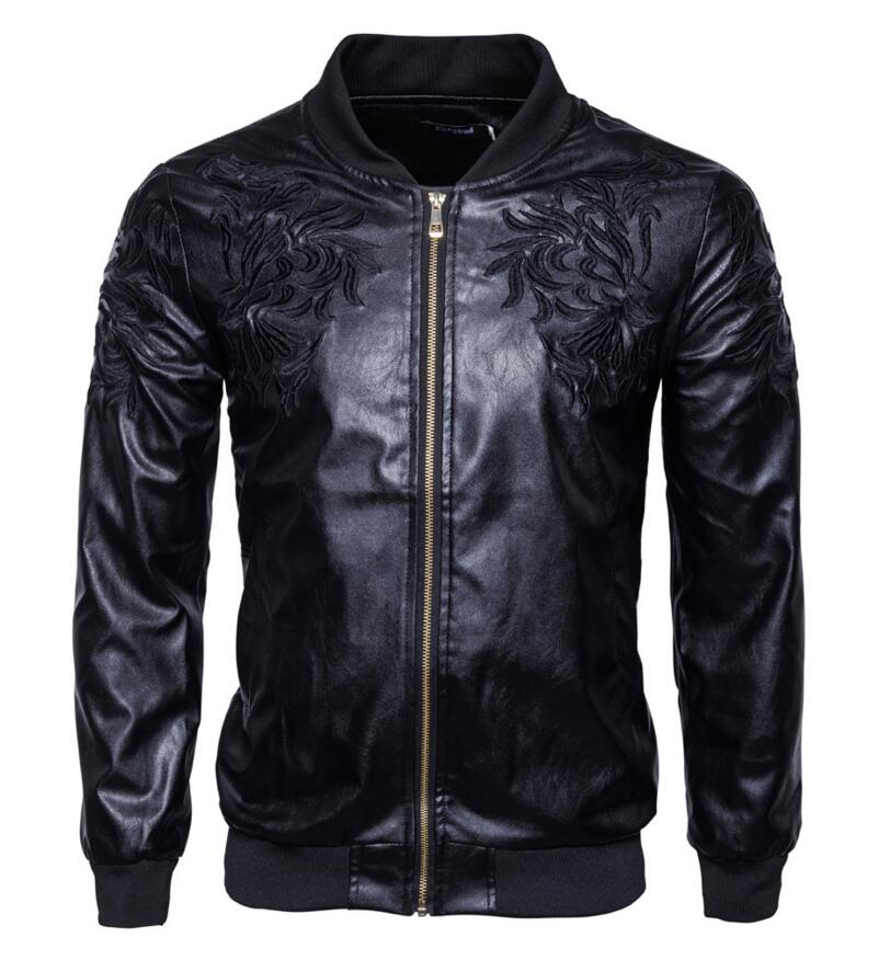 2017 New men's Autumn clothing Fashion leisure leather collar embroidery unique slim motorcycle leather stage singer costumes