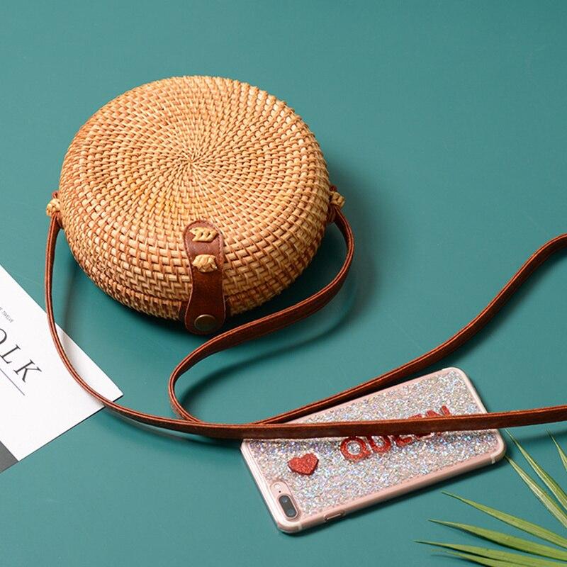 Bolso de paja redondo cuadrado estilo Mulit Bolsos De Mujer verano ratán bolsa tejida a mano playa círculo bohemio bolso de mano nueva moda