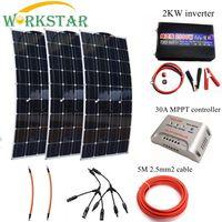 300 W комплект солнечных батарей для начинающих 3*100 w гибкие модули солнечных панелей с 2000 w инвертор и MPPT 30A контроллер
