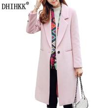 DHIHKK Women Autumn Winter Warm Soft Wool Coat Blazers Long Thick Wool Blends Solid Outwear Office Lady Pink Coats Jackets 349RX