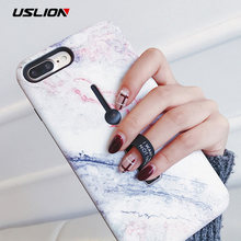 USLION Marble Case For iPhone 7 Plus XR XS Max Hide Ring Stand Holder Phone Cases For iPhone X 8 7 6 6s Plus Hard PC Back Cover(China)