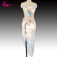 Ruoru Bling Mermaid Belly Dance Costume Set Women Bra Skirts Professional Outfit 2pcs Pink Sequin Wear