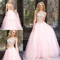Sexy 2 Duas Peças Vestidos de Baile 2017 A Linha de Mangas rosa Tulle Frisado Apliques de Longo Prom Vestido de Noite Vestidos de Noite vestido