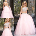Sexy 2 Two Piece Prom Dresses 2017 A-line Cap Sleeves Pink Tulle Appliques Beaded Long Prom Gown Evening Dresses Evening Gown