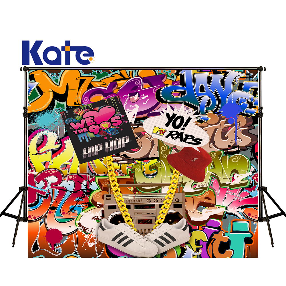 KATE Photography Backdrops 5x7ft Kids Graffiti Backdrops 90's Hip Hop Background Children's Party Backdrop for Photo Studio 5 x 7 ft pink love hearts print photo backdrop for wedding party portrait photography studio background s 1305