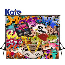 цены на KATE Photography Backdrops 8x8ft Graffiti Background Children's Party Backdrop Vintage Cameras Photography Backdrop for Studio
